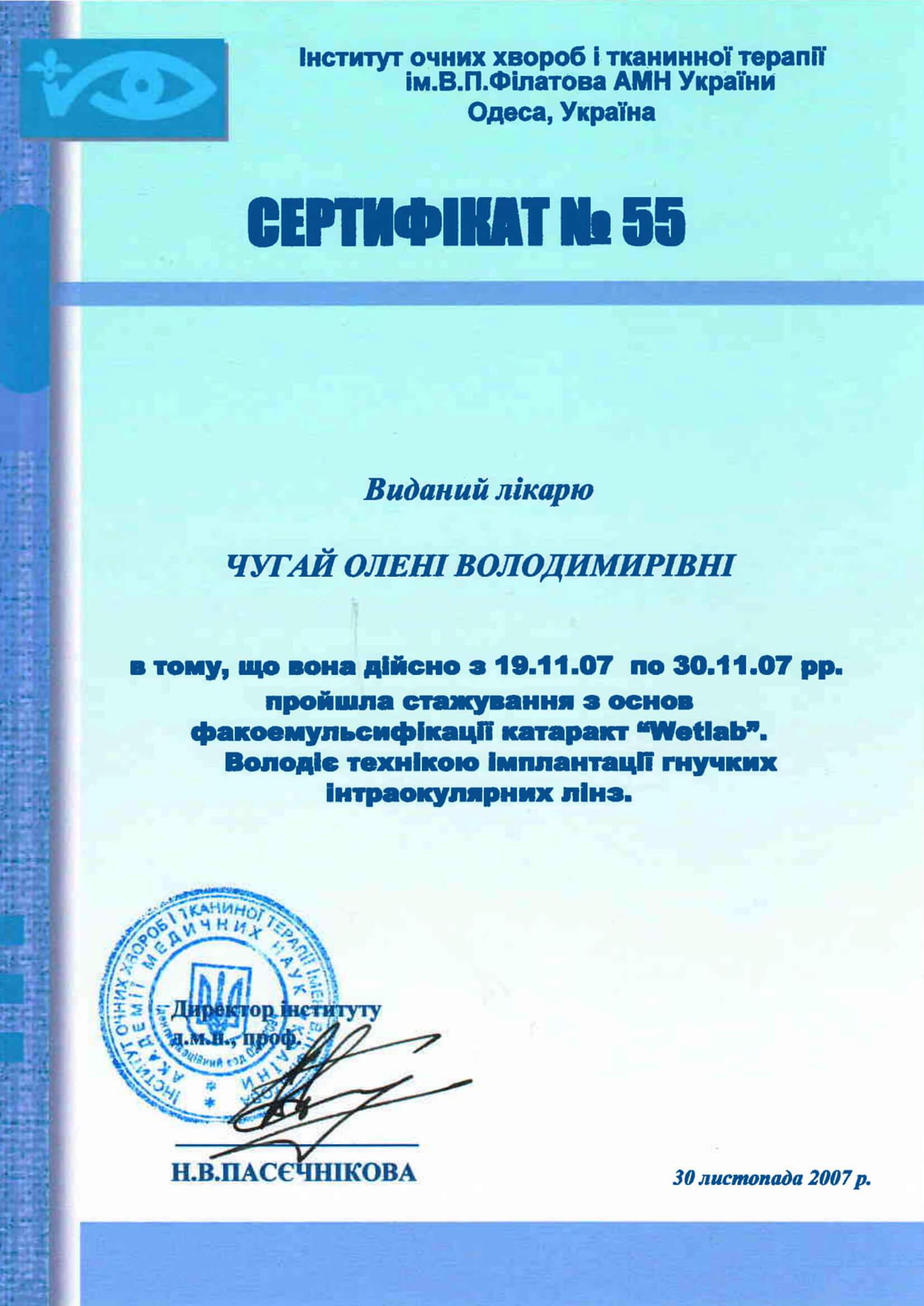 Диплом Олена Чугай